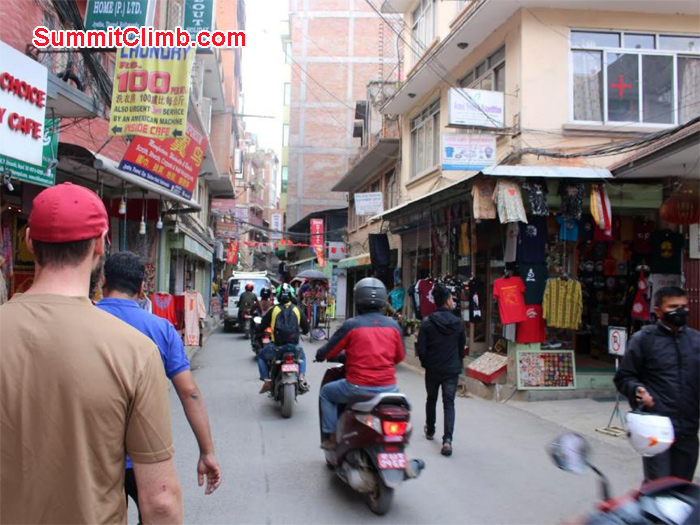 Streets of Thamel with less traffic