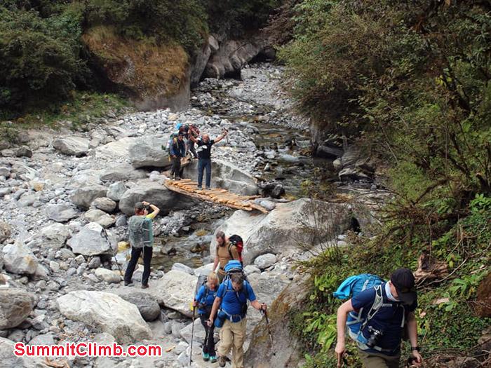 team members trekking