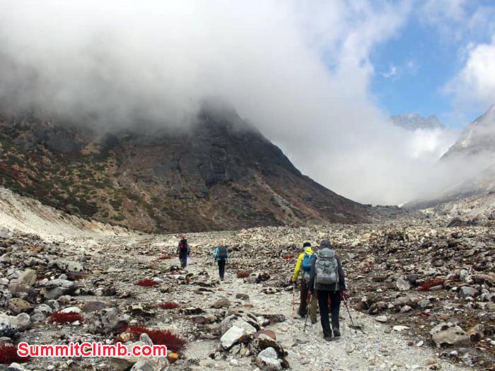 walking towards the mountain
