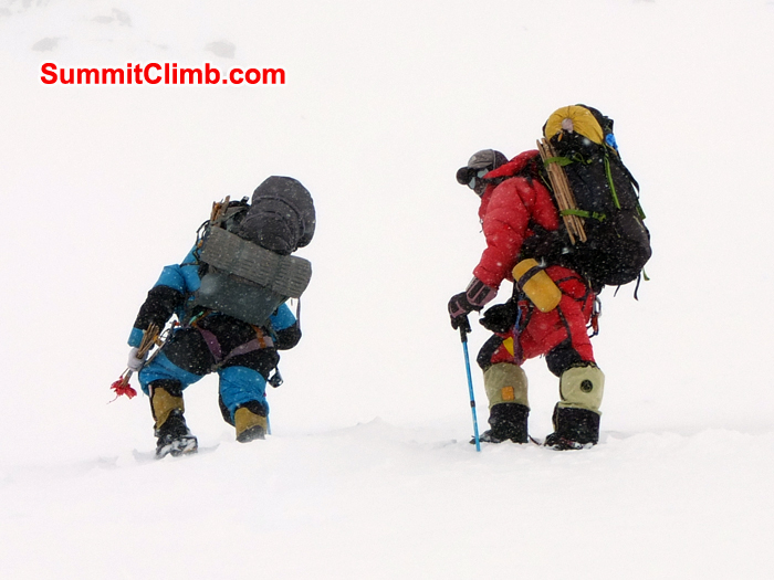 Ascent from Camp2 to Camp3 in case of snowfall, cho oyu, climbing, expedition, mountain