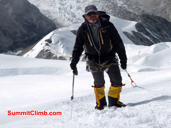 Randy just before C2 with-the-tents of C1 below Camp-2, cho oyu, climbing, expedition, mountain, Nepal