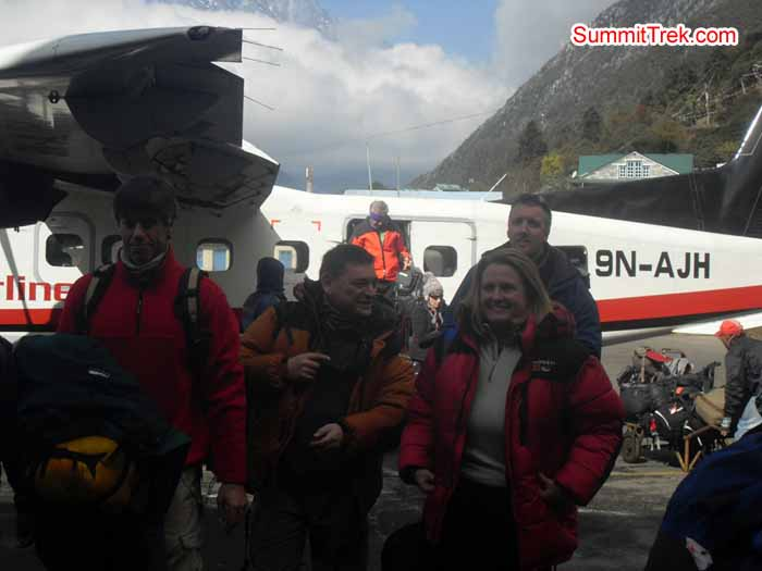 Team members are in Lukla airport. Photo Kaji Tamang
