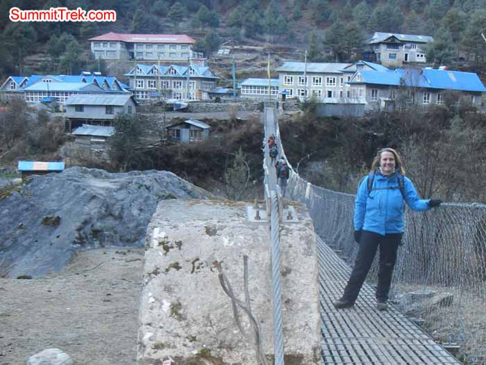 Alessandra Badino enjoying staying at long bridge toward to Phakding. Photo Kaji Tamang