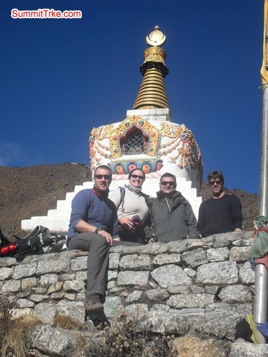 Christmas New year members enjoying the beautiful weather behind Budish stupa. Photo Kaji Tamang