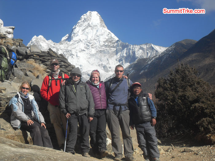 Christmas New Year members way to Pangboche, backgroud Amadablam. Photo Kaji Tamang