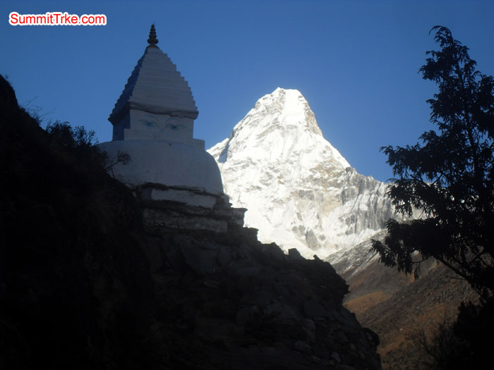 iew from way down to Fungki Tanga. Stupa and AmaDablam. Photo Kaji Tamang
