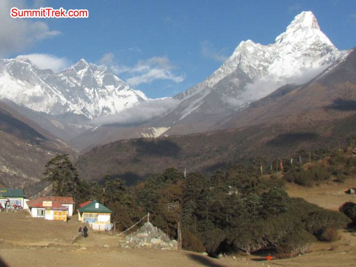 View from Tangboche, Everest, Nupste, and AmaDablam. Photo Aless