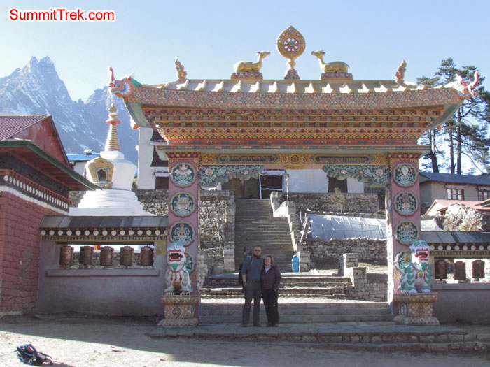 Tangboche Monastary gate, Aless and Luke posing for photo. Photo Aless