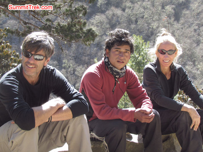 Scott, Ramesh, and Darek resting on the way to Tangboche. Photo Aless