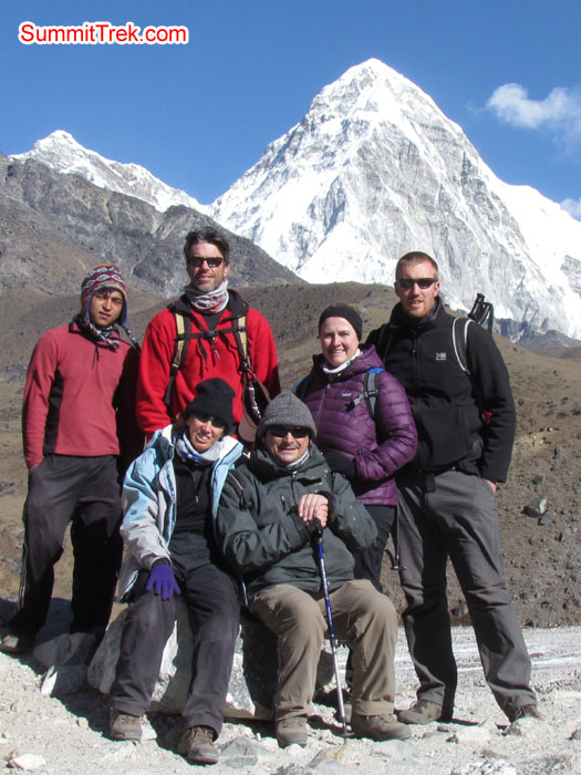 Team Christmas and New year group near Lobuche background mount Pumori. Photo Aless