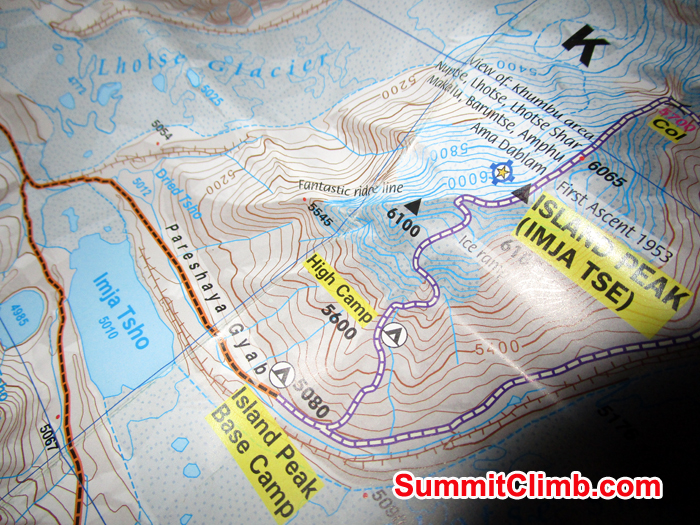 Island Peak basecamp map. Photo Meryl Lipman