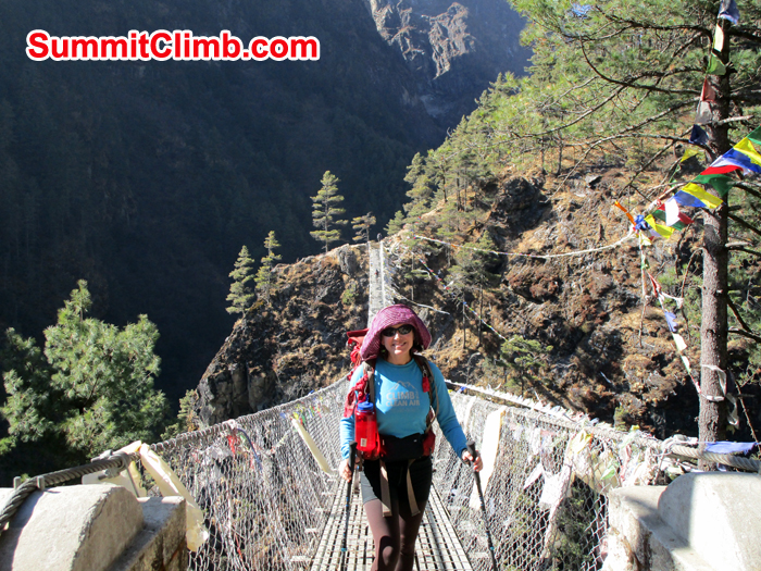 Meryl is on one of the many suspension bridge. Photo Meryl Lipman