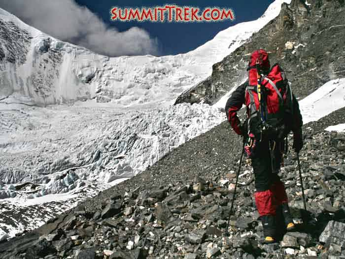 Slightly above ABC, one of our Everest climbing expedition members is heading up to ascend the North Col, where camp 1 is located at 7000 metres/23,000 feet