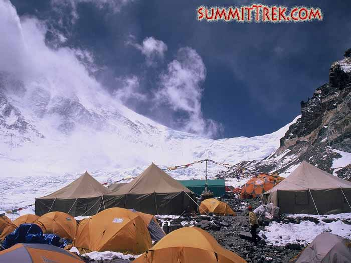 Our comfortable ABC at 6400 metres/21,000 feet. Located at the foot of Everest, this is perhaps the highest basecamp in the world. This is an exciting place to be, as teams from all over the world are preparing or in motion to climb the highest peak on the planet