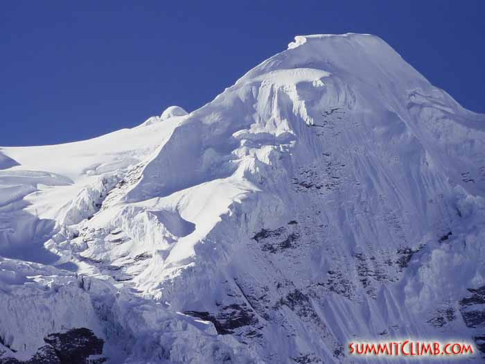 A stunning view of Mera Peak from basecamp