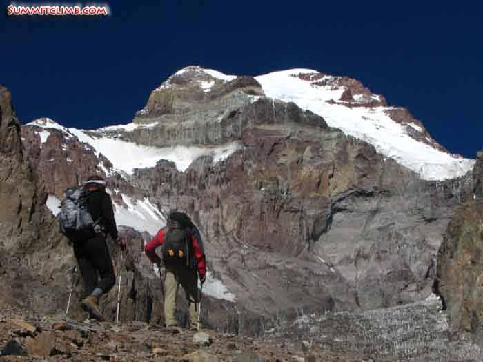 team trekking into Aconcagua basecamp