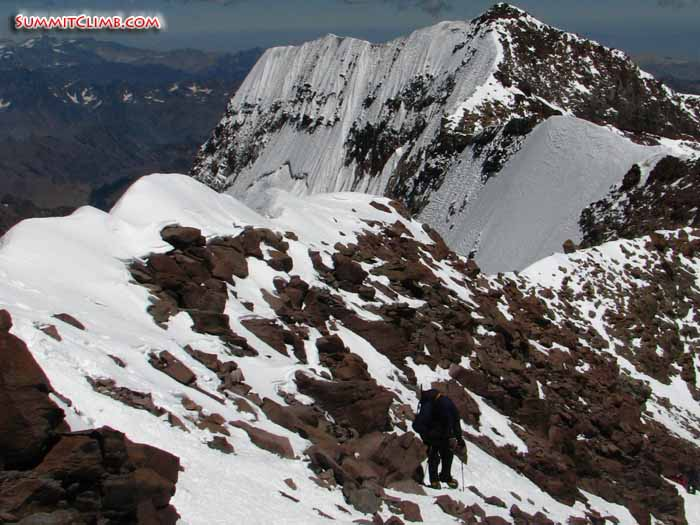 the final steep hike up the 'canaleta' is normally a rocky trail, it could be interesting with snow, so we ask you to bring your ice axe and crampons for this part