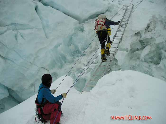 Dawa Sherpa assists Ken Stalter across a crevasse on the North Col