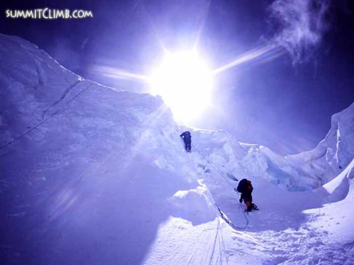 Climbers ascending the North Col at 6,800 metres/22,300 feet