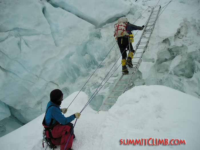 Dawa Sherpa assisting Ken Stalter across a crevasse on the North Col (Dan Mazur).