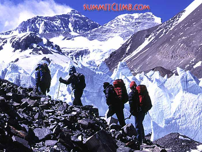 Trekking between basecamp and interim camp, which is located at 5,800 metres/19,000 feet, and halfway to ABC
