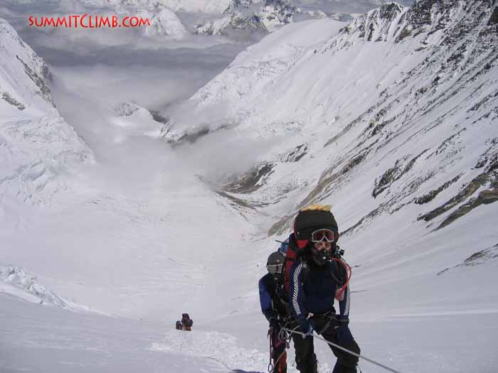 Our team members starting their ascent of the Lhotse face