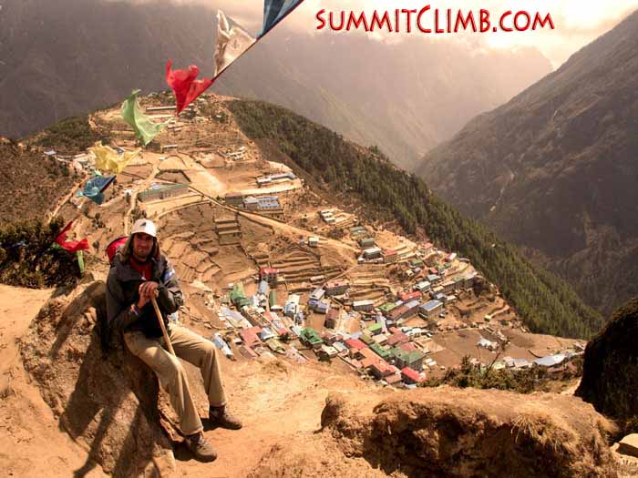 Namche Bazaar at 3,440 metre/11,300 feet, the capital of the Sherpa people. See this unique village on our trek to and from basecamp
