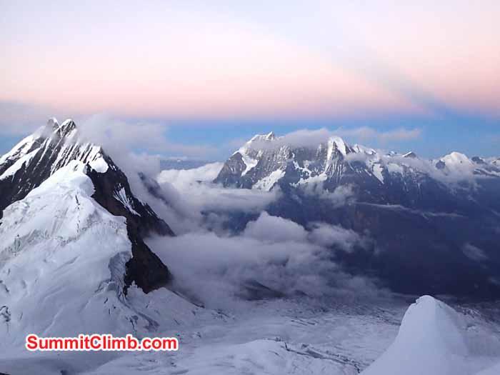 Annapurnas from summit of Manaslu.
