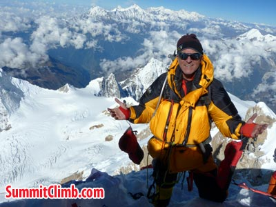Darren at the summit of Manaslu