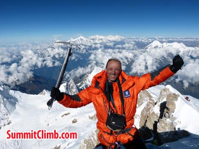 Eugene at the summit  of Manaslu
