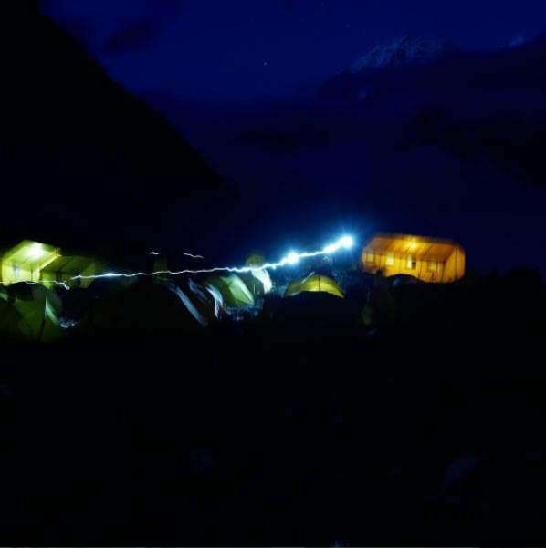 Our Manaslu base camp at night