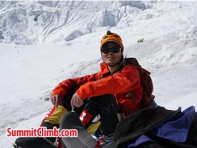 Puwei L taking rest on camp 3. Photo Puwei L