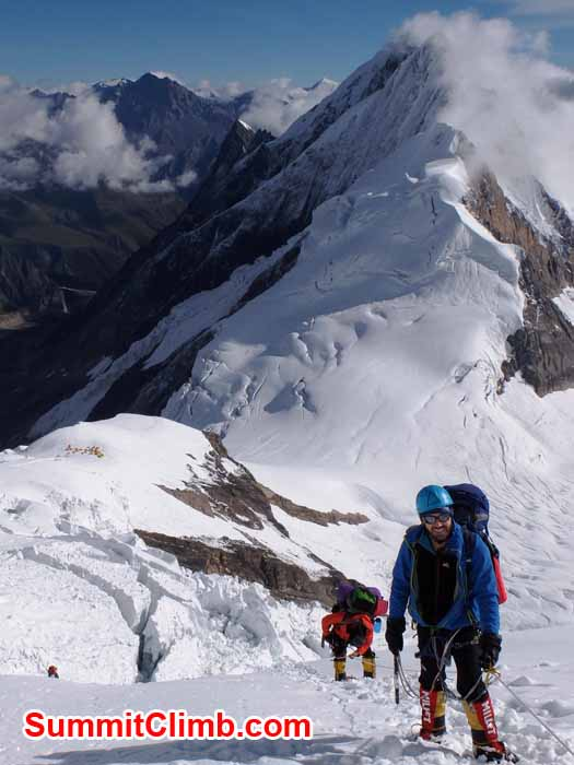 climber at camp 1 manaslu