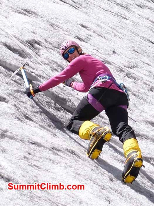 Dan Mazur photo. Jacinta climbs ice during fixed rope training. Dan Mazur photo
