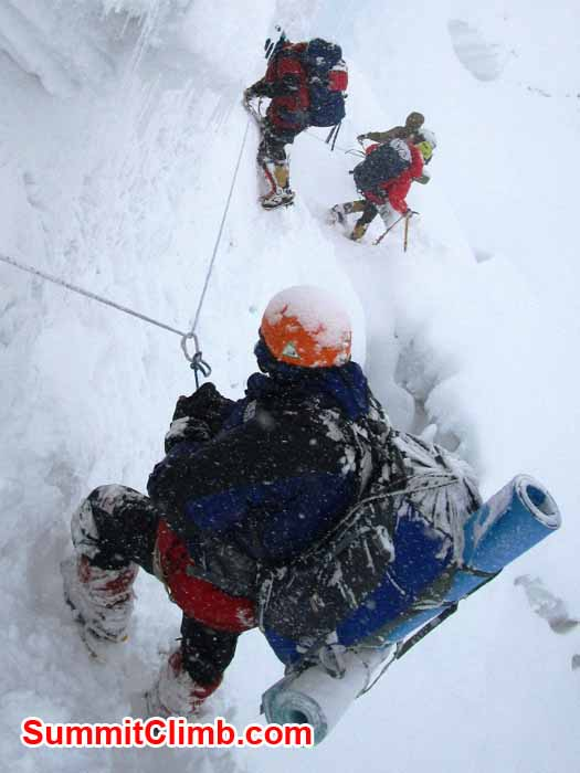 Dan, Vincent, Marin and Na Tenji descending an ice wall. Photo Jangbu Sherpa.