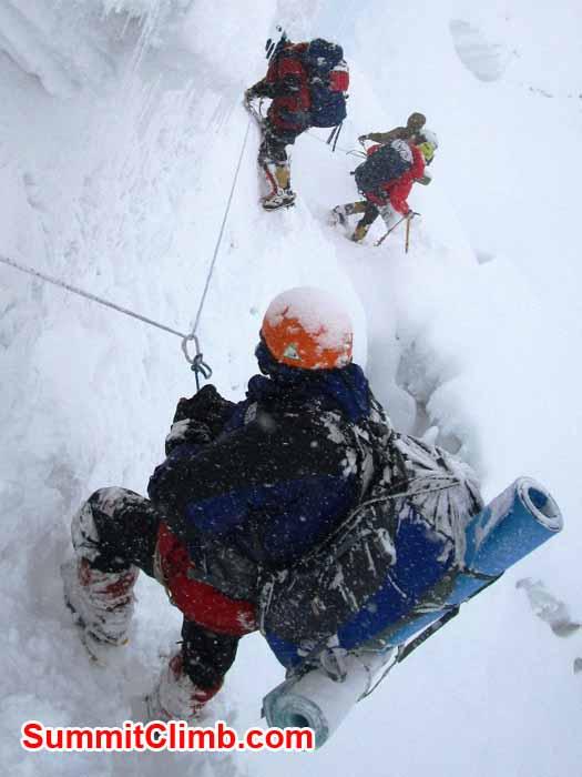 Dan, Vincent, Marin and Na Tenji descending an ice wall. Photo Jangbu Sherpa.