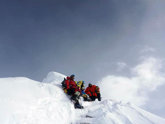 summitclimb group at summit of manaslu