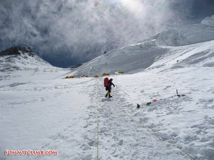 Stewart Edge climbing the final few steps into camp 3. Thats the Geneva Spur on the left (Squash Falconer).
