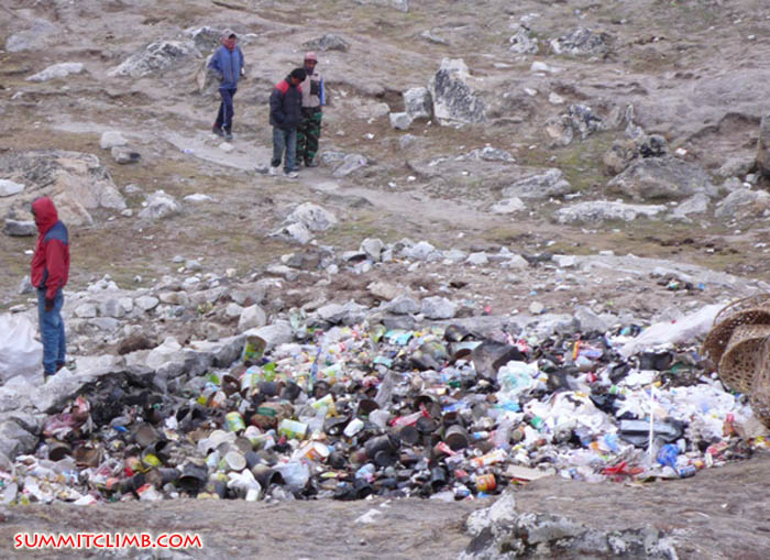 Just a bit of the rubbish collected from basecamp and Gorak Shep being burned and processed for transport to lower altitude.