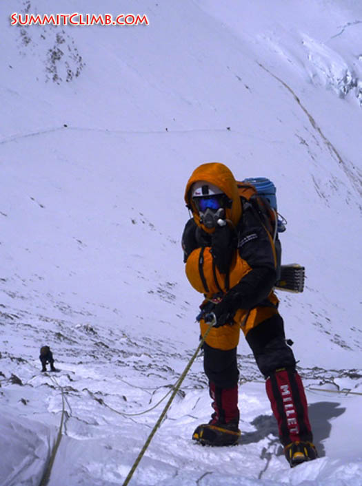 Squash falconer abseiling in the infamous yellow band on Everest (Stew Edge).