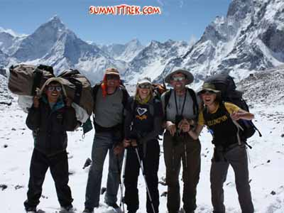 Karma, Dan, Squash, Mark and Phoebe in Cho La basecamp (Keith Whelan)