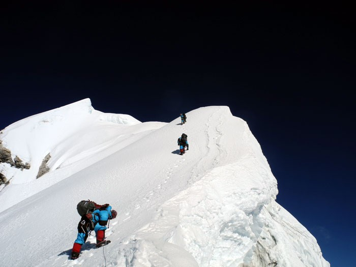 Climbing toward the summit