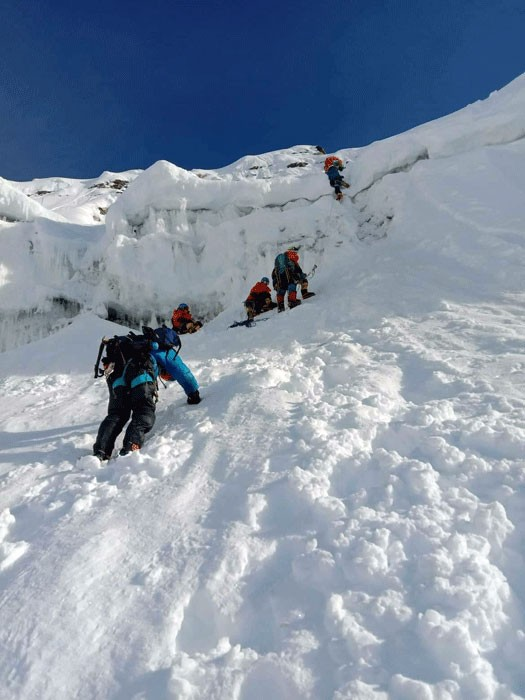 Climbing the headwall