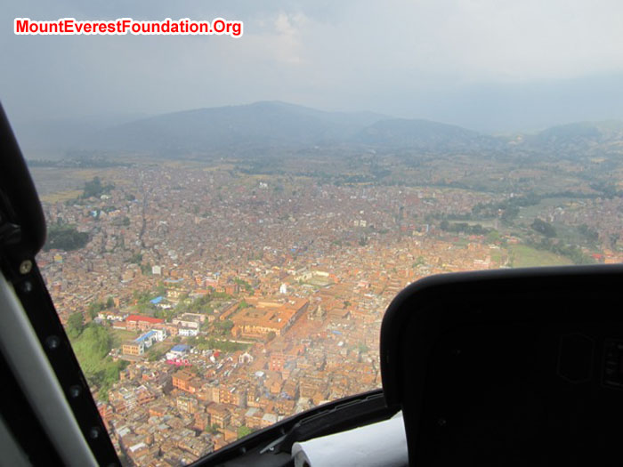 View from Helicopter of Kathmandu City. Photo Nate Janega