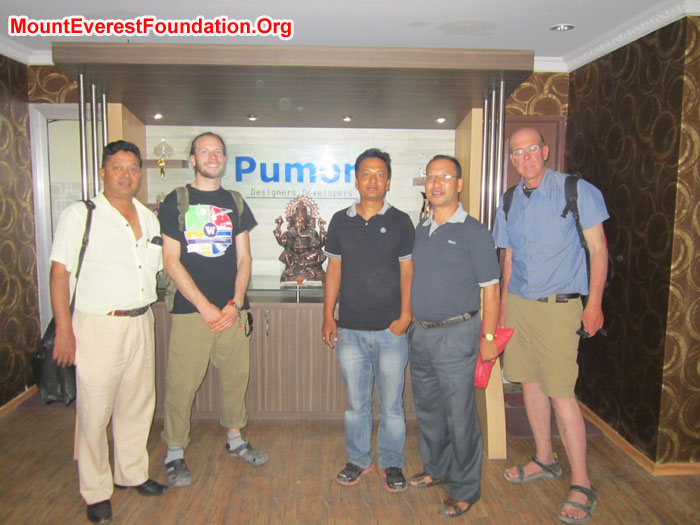 Leaving Pumori. From left, Murari (Mount Everest Foundation), Nate Janega, Rajendra & Suvod (Pumori), Dan Mazur.