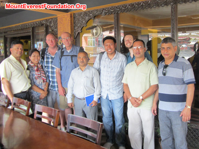 Mount Everest Foundation Team meeting with BSP-Nepal (Bio Gas Support Program). From left: Murari K. Sharma (MEF), Maya Sherpa (Nepal Mountaineering Association). Arnold Coster (Mount Everest Expedition Leader), Dan Mazur (Mount Everest Expedition Leader), Bala Ram Shrestha (Excecutive Director, BSP-Nepal), Mimgma Sherpa (Namche Buffer Zone Committee.), Nathaniel Janega – Engineer with Mt Everest Biogas Project, Subodh Shrestha, Prakash Lamichhane (Assistance Director). Photo by Deha Shrestha.