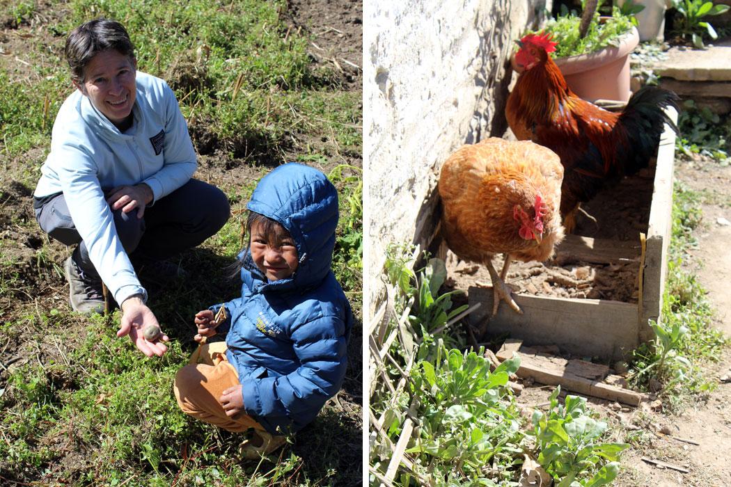 Dr. Jen enjoying with kid Chicken farming