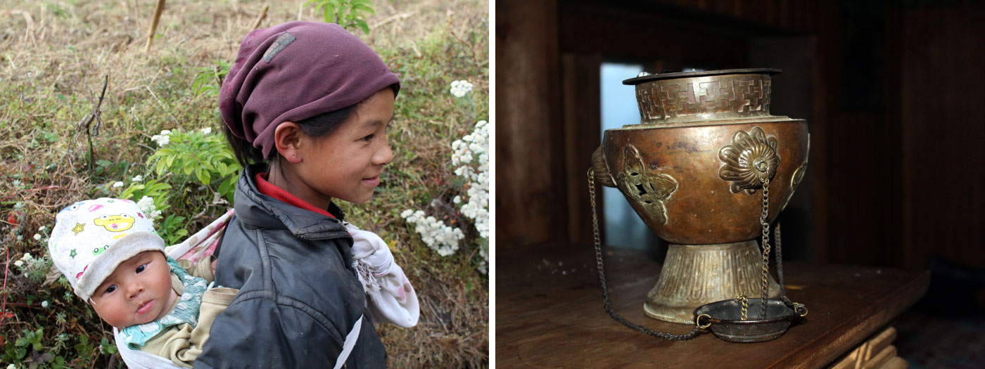 carrying child decoration in tea house