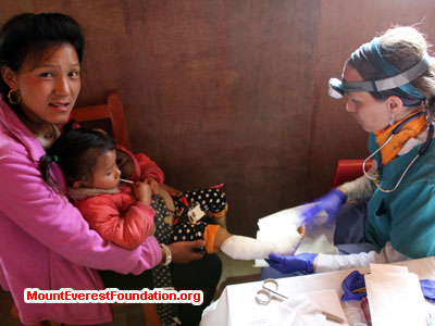 nepal volunteer trek, checking up health issue