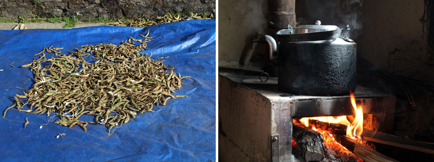 drying up vegetable Making hot tea
